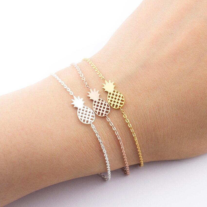 Минимализм браслет ананас для женщин, Изысканные Подарки BFF ювелирные изделия 2017 из нержавеющей стали, розовое золото, браслет для женщин