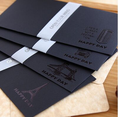 5PCS/BAG New Retro Black Gilding Envelope For Card Scrapbooking Gift Wedding Letter Invitations Korean Stationery Papelaria