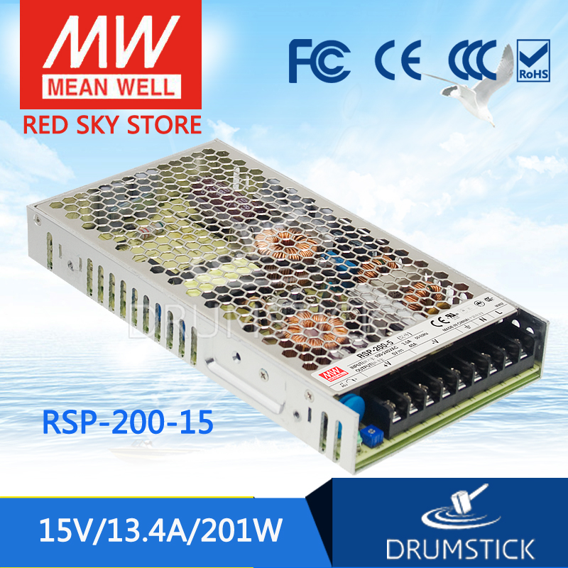 Hot sale MEAN WELL RSP-200-15 15V 13.4A meanwell RSP-200 15V 200.4W Single Output with PFC Function Power Supply best selling mean well se 200 15 15v 14a meanwell se 200 15v 210w single output switching power supply