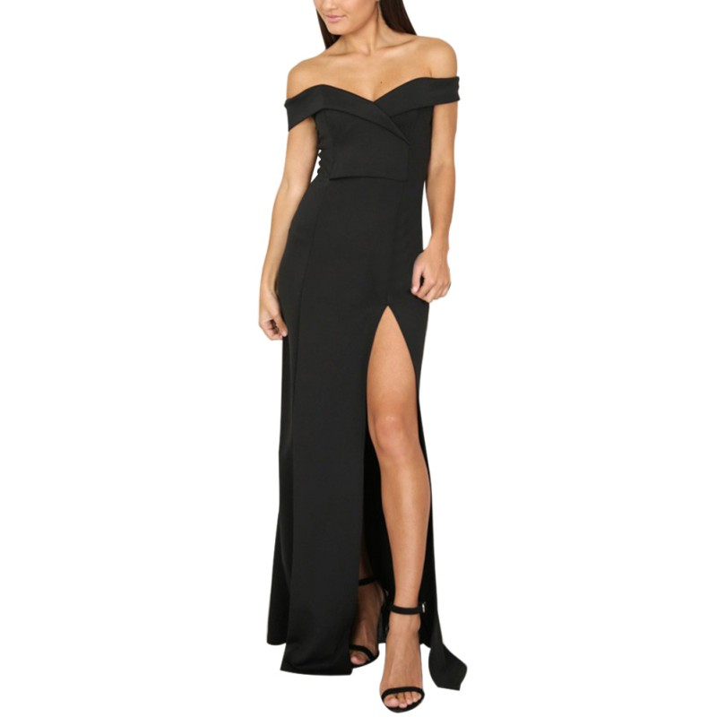 Fashion Summer Dresses Strapless Solid Sexy Long Maxi Club Wear Dress Women Party Dresses Pink Black PL2