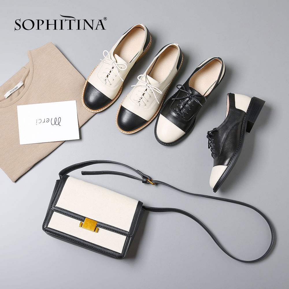 SOPHITINA New Casual Women s Pumps Genuine Leather Round Toe Lace Up Spring Shoes Fashion Cross