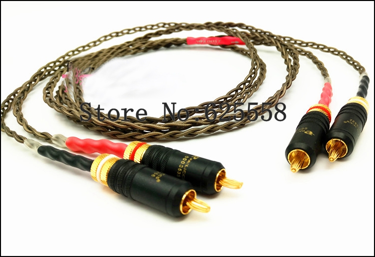 1XPair  1M Hifi Odin Silver Plated RCA Audio Cable With Gold Plated RCA Plug  Video Cable hifi audio wbt 0150 rca plug connector adapter gold plated jack for diy hifi rca cable