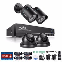 SANNCE 4CH 1080N Security System 4pcs 720P CCTV Cameras Home Indoor Outdoor Surveillance Kit Night Vision