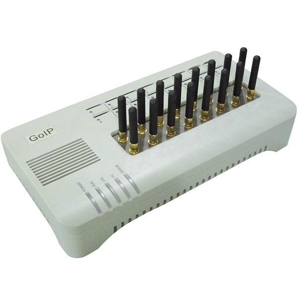 Prix pour 16 canal GSM VOIP passerelle DBL GOIP16 VoIP Passerelle IMEI support modifiable en vrac SMS (avec antennes courtes)