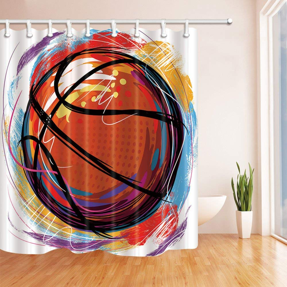 Sport Basketball Pattern Theme Shower Curtain Orange Red Yellow Blue Purple Waterproof Mildew Resistant Polyester