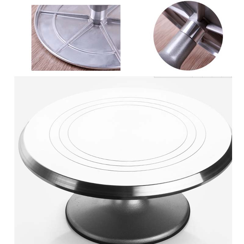 Baking Tools 11 5 12 inch aluminum alloy flower cream cake decorating table turntable non slip turntable in Turntables from Home Garden