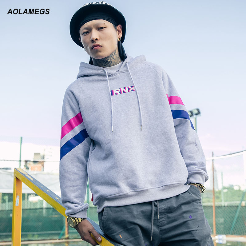 Aolamegs Mens Hoodies Sweatshirts Long Sleeve Contrast Color Letters Printed Hooded Pullovers Fashion Harajuku Hip-Hop Hoodie