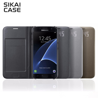2017 SIKAI LED View Smart Cover For Sasmsung Galaxy S7 S7 Edge With Sleep Function Cover