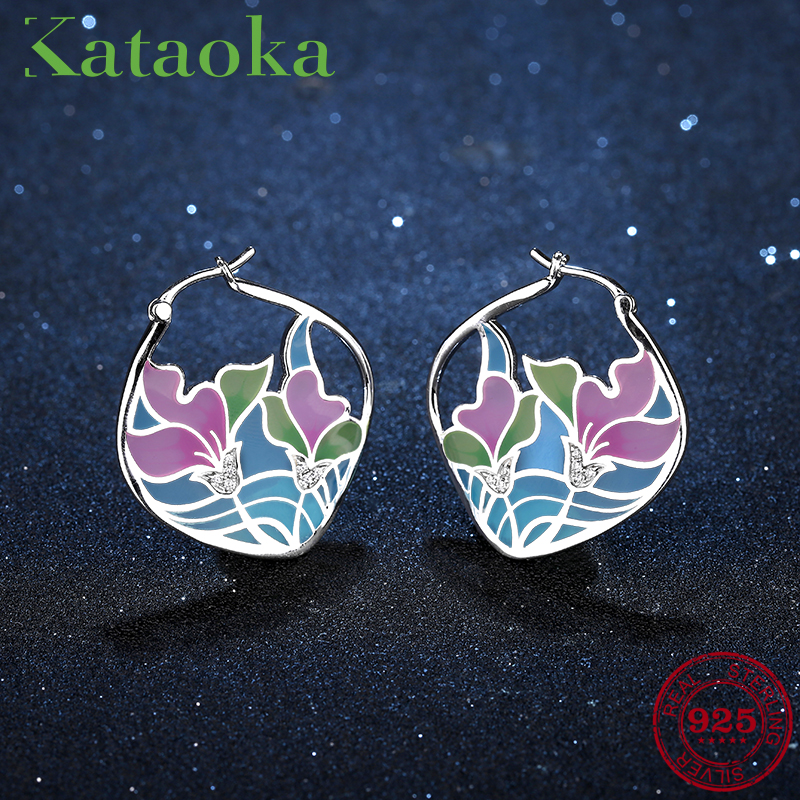 NEW Blue and Pink lotus Flowers for women 925 Sterling Silver fashion CZ Clip Earrings round shape luxury Party Jewelry Enamel new design round shape 2018 hot authentic 925 sterling silver ethnic style fashion stud earrings luxury party jewelry enamel