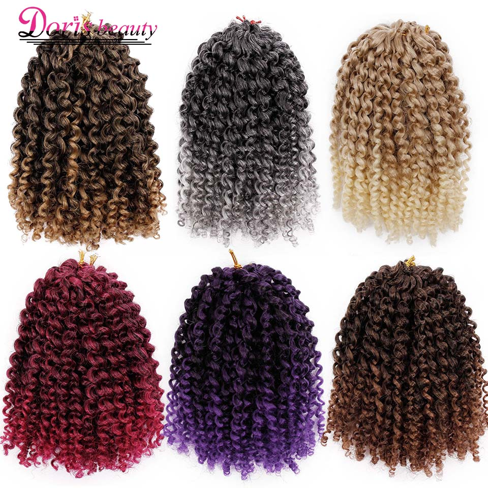 Hair-Extensions Braid-Hair Marley Curly Brown Grey Synthetic-Crochet Black Purple Ombre