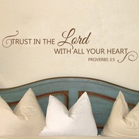 Bible Wall Decals Trust in the Lord Proverbs 3:5 Vinyl Text Christian Wall Words Stickers Art 15x58