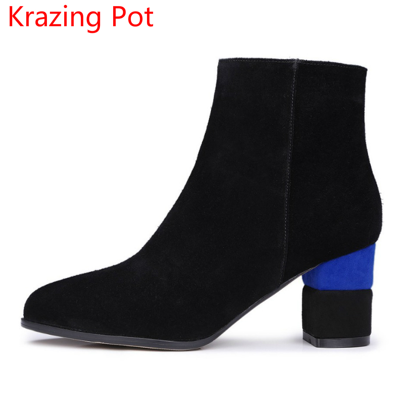 New Arrival Winter Shoes Cow Suede Boots Round Toe Mixed Colors High Heel Chelsea Boots Short High-end Custom Ankle Boots L52 round toe korean version womens booties ankle block high heel princess full grain leather boots winter geometric mixed colors