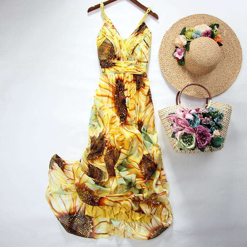 Été femmes robes en soie nouveauté 2017 Boho mode sans bretelles imprimé Floral Sexy robe de plage longue robe Maxi