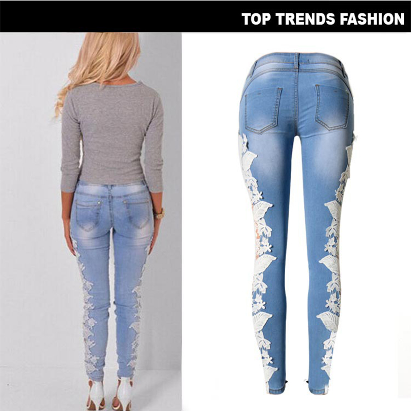 2019 Spring Hole Plus Size Female Fitted Jeans Woman Pencil Ripped Wathet Pants Slim Summer Skinny Casual Lace rp7ErwFqx