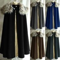 Medieval Men's Fashion Celtic Viking Wool Cape Coat Vintage Ranger Coat Gothic Game of Thrones Style Fur Collar Cape Cloak High