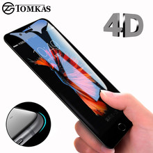4D Round Curved Edge Tempered Glass For iPhone 6 6s Plus 7 8 X Full Cover Protective Premium 4D Screen Protector TOMKAS(China)