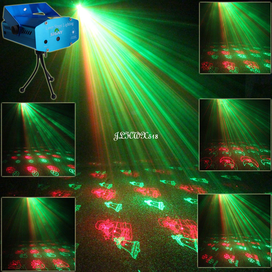 Mini R&G Moving 20 Christmas Laser Patterns Projector Club Bar Dance Disco home party Xmas DJ Stage lighting Light show N75Y21 laser stage lighting 48 patterns rg club light red green blue led dj home party professional projector disco dance floor lamp