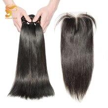 AOSUN HAIR שיער פרואני ישר 3 חבילות עם סגירה רמי שיער אדם חבילות עם סגירת שיער פרואני חבילות עם סגירה