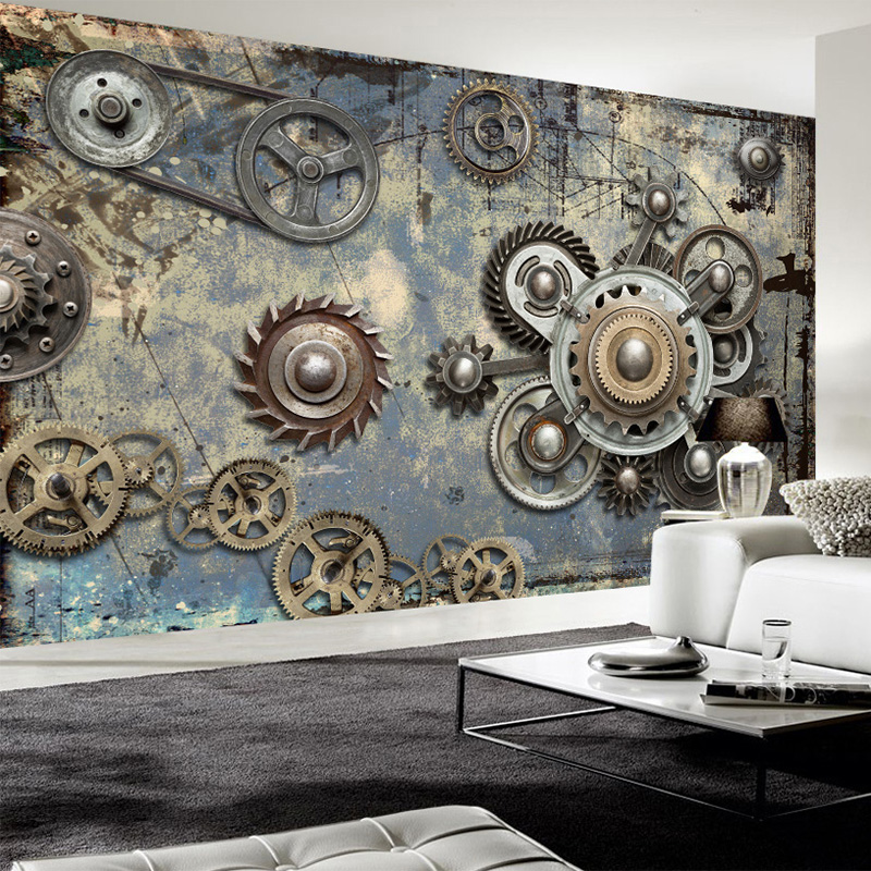 Us 832 55 Offphoto Wallpaper Modern Retro Mechanical Gear 3d Wall Murals Ktv Bar Cafe Restaurant Creative Backdrop Wall Decor Papel De Parede In
