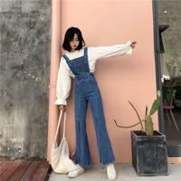 Women Casual Denim Jumpsuits Fashion Back Ziper Split Flare Romper Overall Jeans Jumpsuits Antumn Female Blue Denim Playsuit