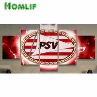 5 개 PSV 배지 다이아몬드 그림 축구 로고 전체 라운드/광장 다이아몬드 크로스 스티치 세트 5 모자이크 홈 장식 모자이크 라인