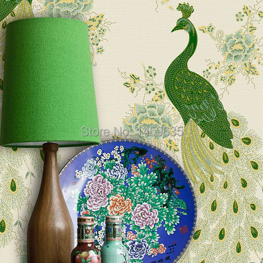 High quality non-woven wallpaper embossed gold living room bedroom three-dimensional embroidery peacock wallpaper embroidery basis book 500 kinds of three dimensional embroidery patterns