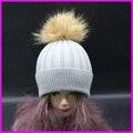 Das Senhoras Das mulheres Inverno Quente Malha De Lã Pele De Guaxinim Pom Ski Hat Cap Beanie Bobble