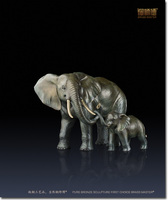 Copper decoration Fine Brass Bronze Mother and Kid Elephant Statue Home Chinese Brass Elephants Ornaments Business Gift