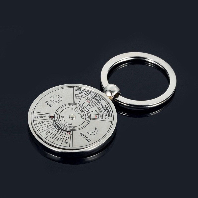 Desk Set New Fashion Personalized 50 Years Perpetual Calendar Keyring Keychain Silver Alloy Key Chain Ring Keyfob Office & School Supplies