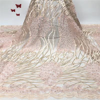 blue embroidered tulle lace 3D lace fabric with pink flowers, embroidered lace fabric with 3D flowers bridal Lace Fabric,