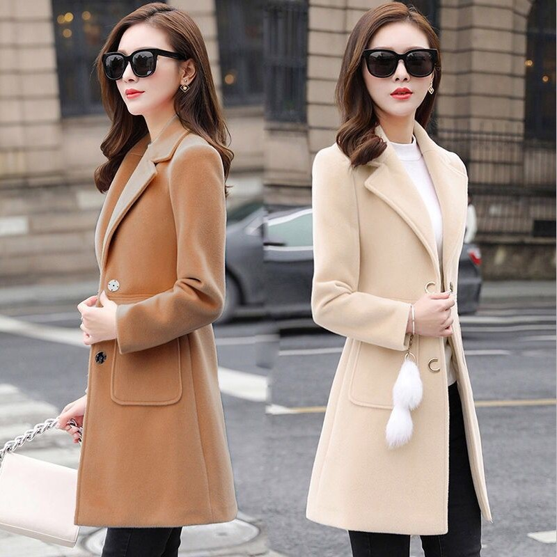 2019 New Women Outerwear Autumn Winter Clothing Fashion Warm Woolen Blends Slim Female Elegant Double Breasted Woolen Coat