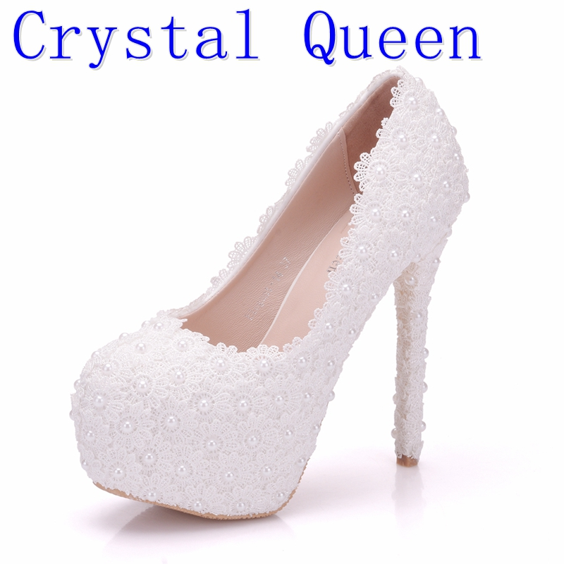Crystal Queen Pearl Lace White Wedding Shoes Women Party Sexy High Heels Platform Pumps Bridal Shoes new arrival white wedding shoes pearl lace bridal bridesmaid shoes high heels shoes dance shoes women pumps free shipping party