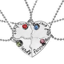 New style 4 pcs/set Stitching Broken Heart Shape Necklace Best Friends Forever And Ever Inlaid Red Blue Crystal Pendant Necklace