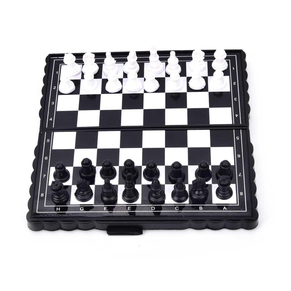 แม่เหล็กใหม่เกมกระดานพลาสติกหมากรุกและหมากฮอสแบ็คแกมมอน 3 ใน 1 หมากรุกชุดหมากรุกและหมากรุก 1 ชุด