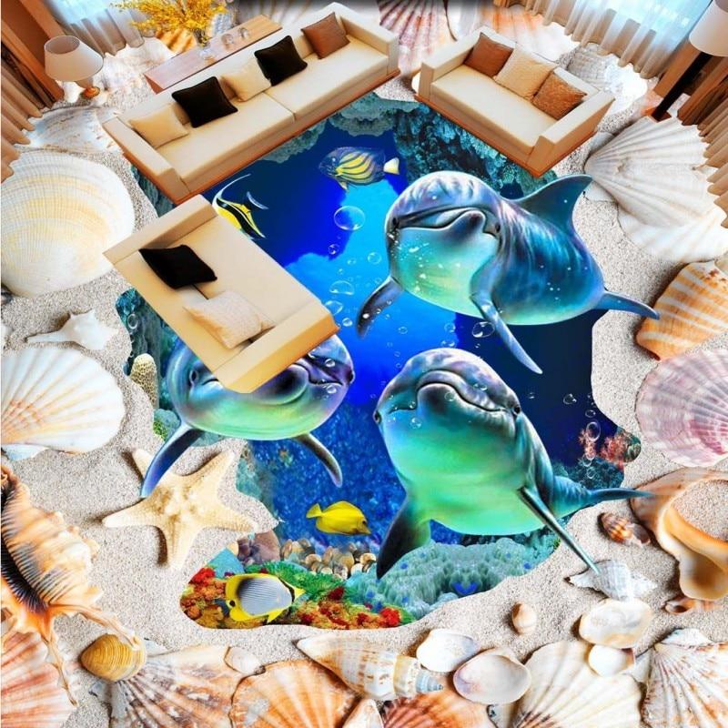 ФОТО Free Shipping custom Sea World Dolphin Beach Shell flooring wallpaper office restaurant hotel self-adhesive floor mural