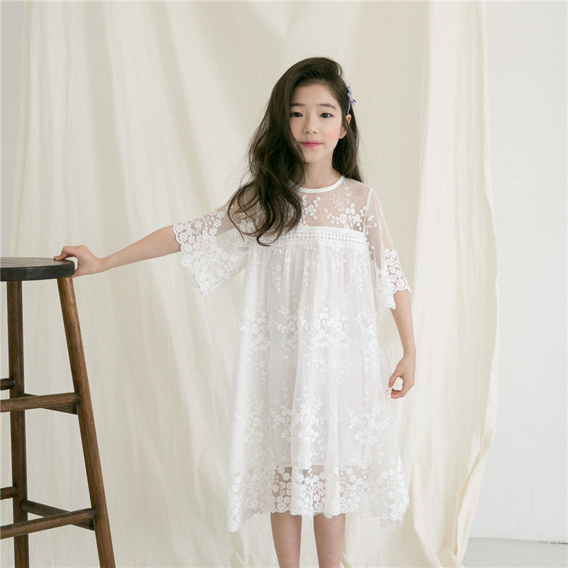 Girls Lace Dress Summer Princess Party Embroidery White Dress for Little Girl Size 4 5 6 7 8 9 10 11 12 14 years Girls Clothing ems dhl free shipping toddler little girl s 2017 princess ruffles layers sleeveless lace dress summer style suspender