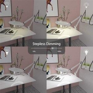 "Image 5 - Lámpara de mesa de aumento LED abrazadera de Metal brazo oscilante escritorio atenuación continua 3 colores 7W lupa luz 3X, 4,1 ""diámetro lente arquitecto"