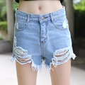 Tengo European and American BF summer female blue high waist denim shorts women worn loose burr hole jeans shorts