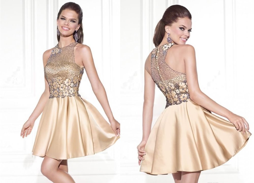 Gold Color Halter Bridesmaid Dress Romantic Elegant Short 2015