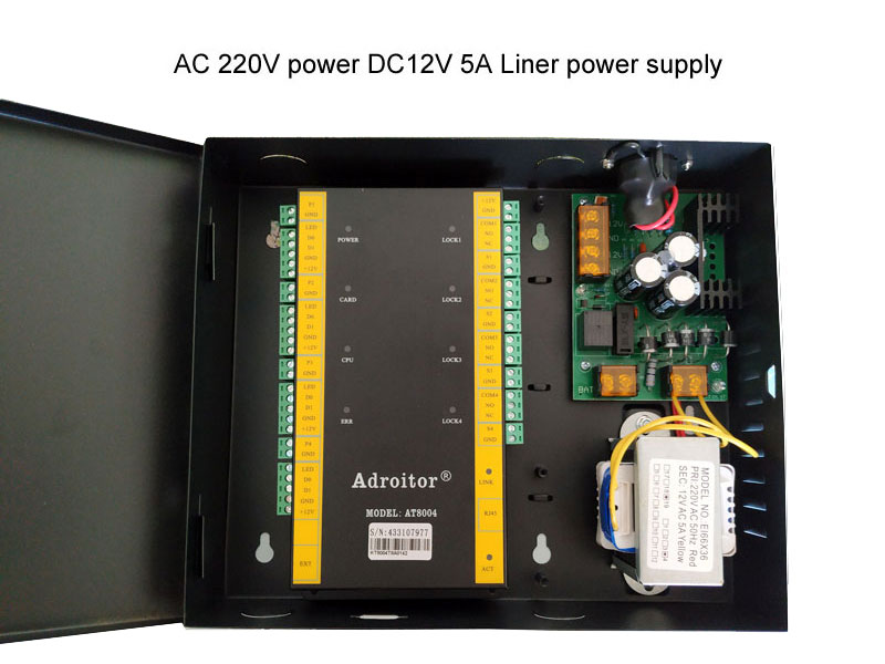 wiegand brand 32 bit TCP/IP four Door Control & power case 110V/220V option support software/ web/ smart phone / fire alarm etc - 3