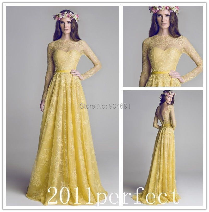 Long Sleeves Lace Bridesmaid Dresses Vestidos Plunging V Back Yellow A Line Custom Stock Maid Of Honor Formal Gowns B14101 In From