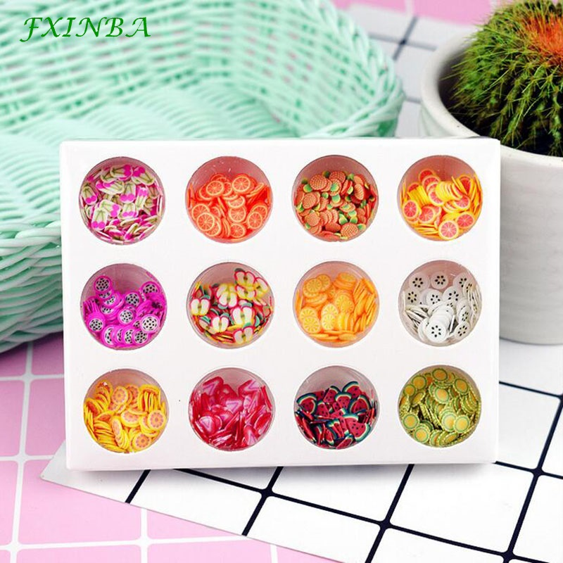 FXINBA 9 Types Mini Fimo Fruit Slices For Slime Supplies/Nails Art Tips Clay Sprinkles Cake Fruit Slices Slimes Toys Lizun DIY