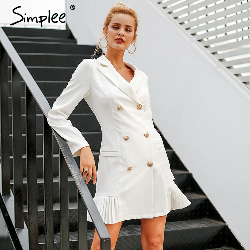 Просто, элегантно рюшами двубортный женское платье офисные повседневное Блейзер белое 2018 Осень Зима Тонкий костюм дамы платья для женщин