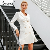 cc1b2c6b268484 Simplee Elegant Ruffle Double Breasted Women Dress Office Casual Blazer  White Dress 2018 Autumn Winter Slim