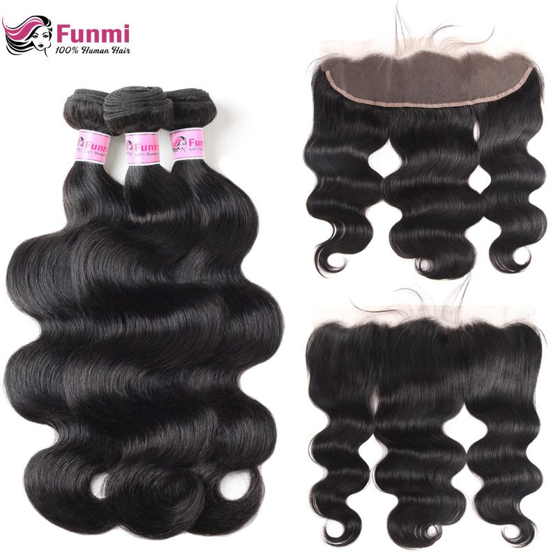 Funmi Malaysian Hair Bundles With Frontal 3Pcs Body Wave Bundles With Frontal 100% Virgin Human Hair Bundles With 13X4 Frontal