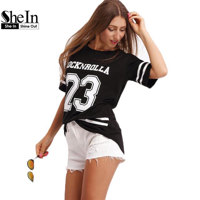 Shein tops para as mulheres tee camisas pretas de manga curta tripulação pescoço 23 letras impressas listrado solta t-shirt básica