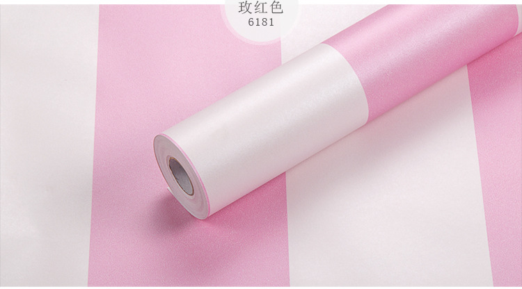 купить 3 D Self adhesive wallpaper The Pink&White Striped style wallpapers Home Decor Self Adhesive stripe roll paper 0.53 * 10 meter по цене 2686.58 рублей