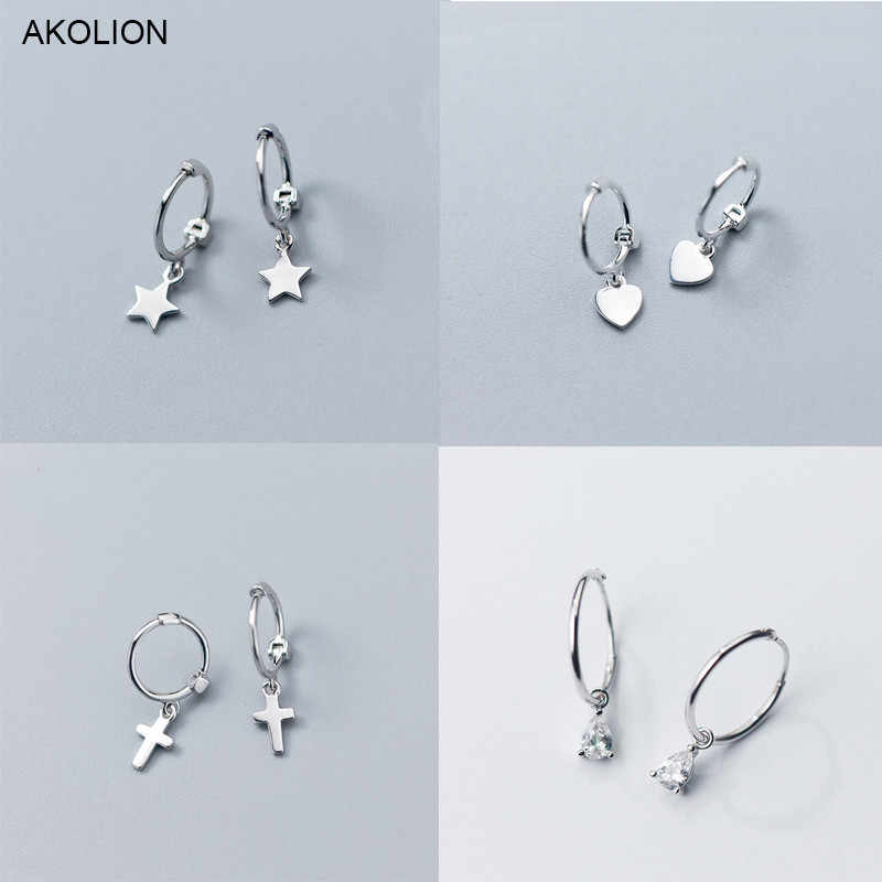 Silver Heart Cross Star Zircon Charm Stud Earrings 925 Small Hanging Stud Earrings For Women Teen Girls Friends Friendship Gift