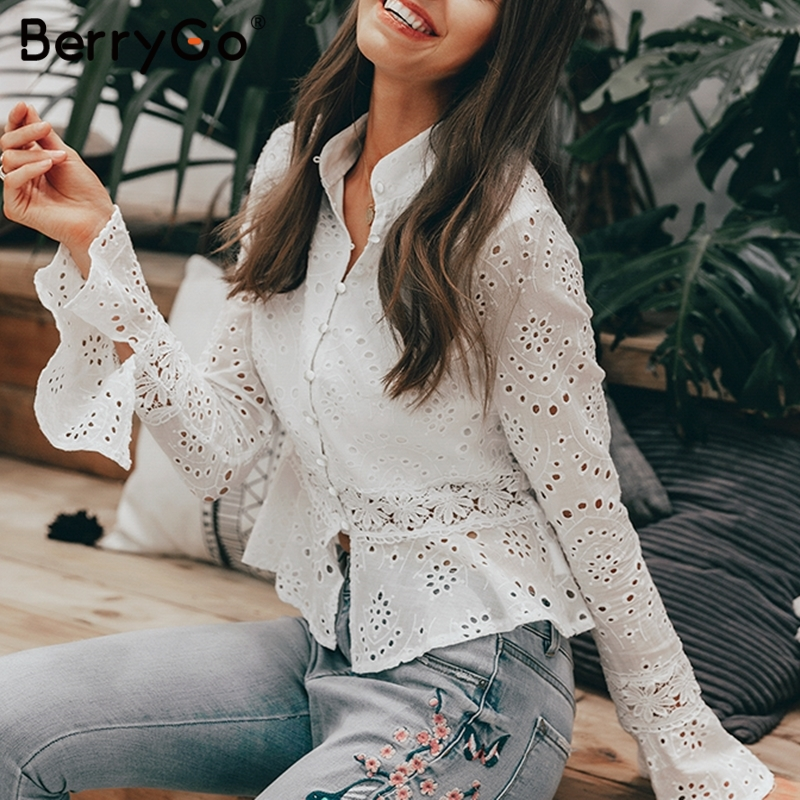 BerryGo Vintage embroidery blouse hollow out women blouse shirt Stand collar blouses tops Casual female white shirt summer tops белая рубашка с объемными рукавами и вырезом