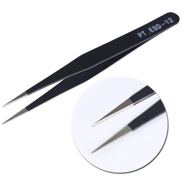 2PCS Curved Tips Tweezer Black Manicure Tool Nail Rhinestone Picker for Nail Peel Off Liquid Tape Eyelash Nippers Nail Tool